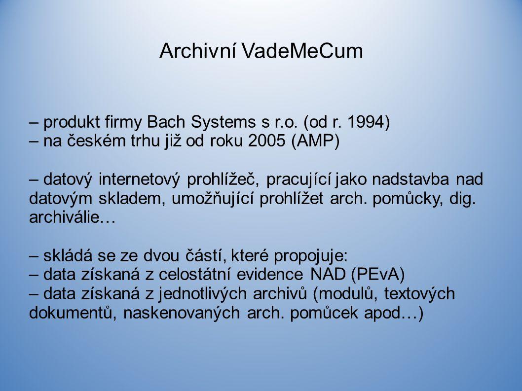 Archivní VadeMeCum – produkt firmy Bach Systems s r.o.