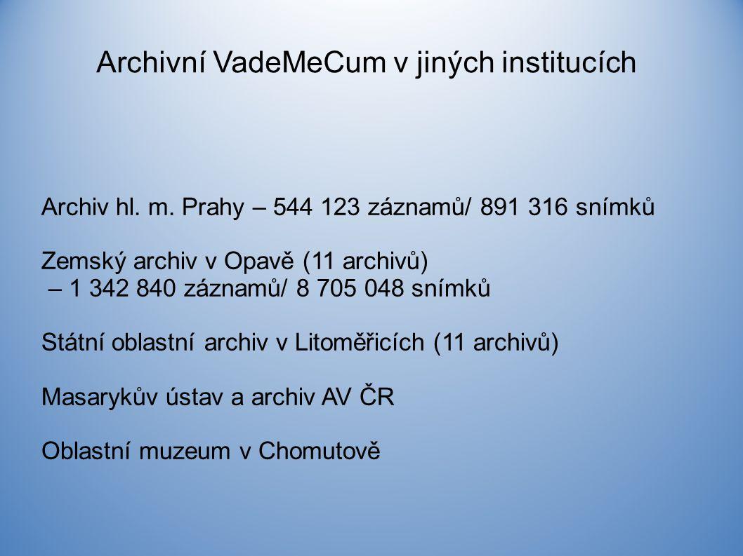 Archivní VadeMeCum v jiných institucích Archiv hl.