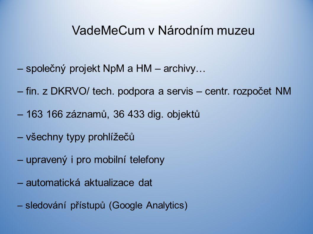 VadeMeCum v Národním muzeu – společný projekt NpM a HM – archivy… – fin.