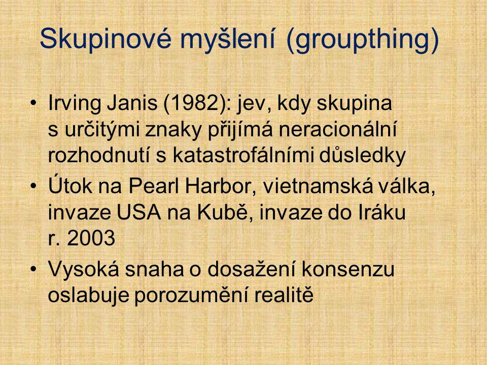 Skupinové myšlení (groupthing) Irving Janis (1982): jev, kdy skupina s určitými znaky přijímá neracionální rozhodnutí s katastrofálními důsledky Útok