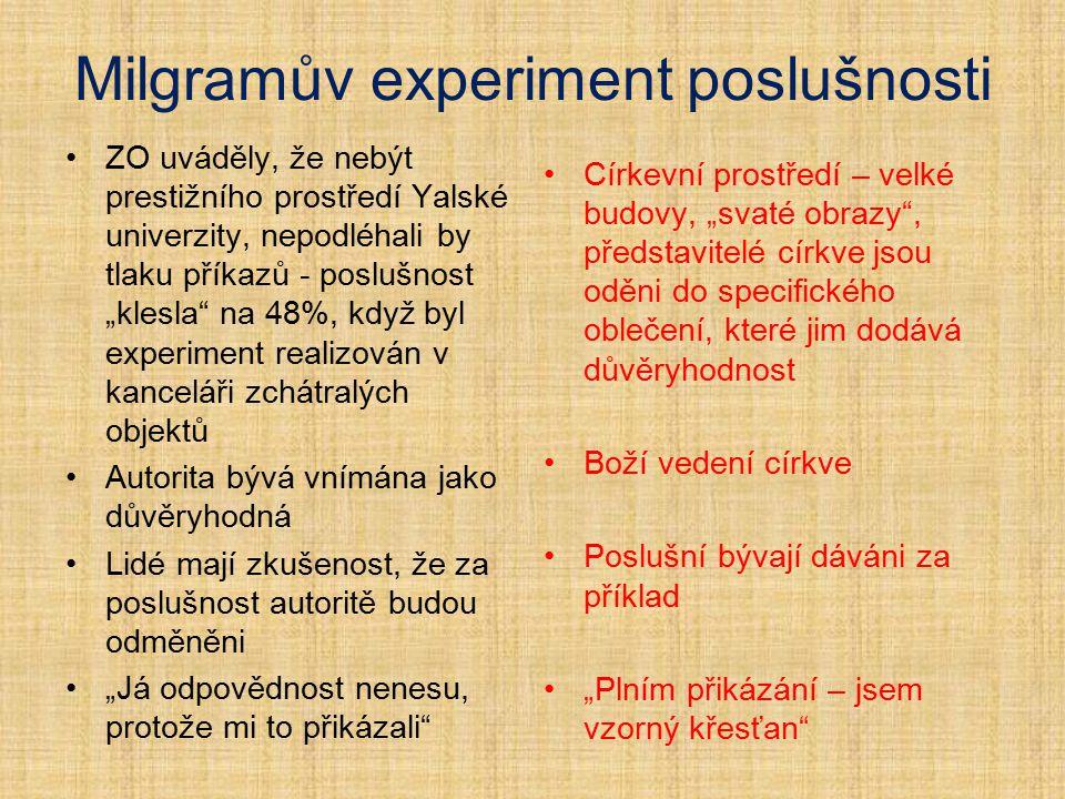 """Milgramův experiment poslušnosti ZO uváděly, že nebýt prestižního prostředí Yalské univerzity, nepodléhali by tlaku příkazů - poslušnost """"klesla"""" na 4"""