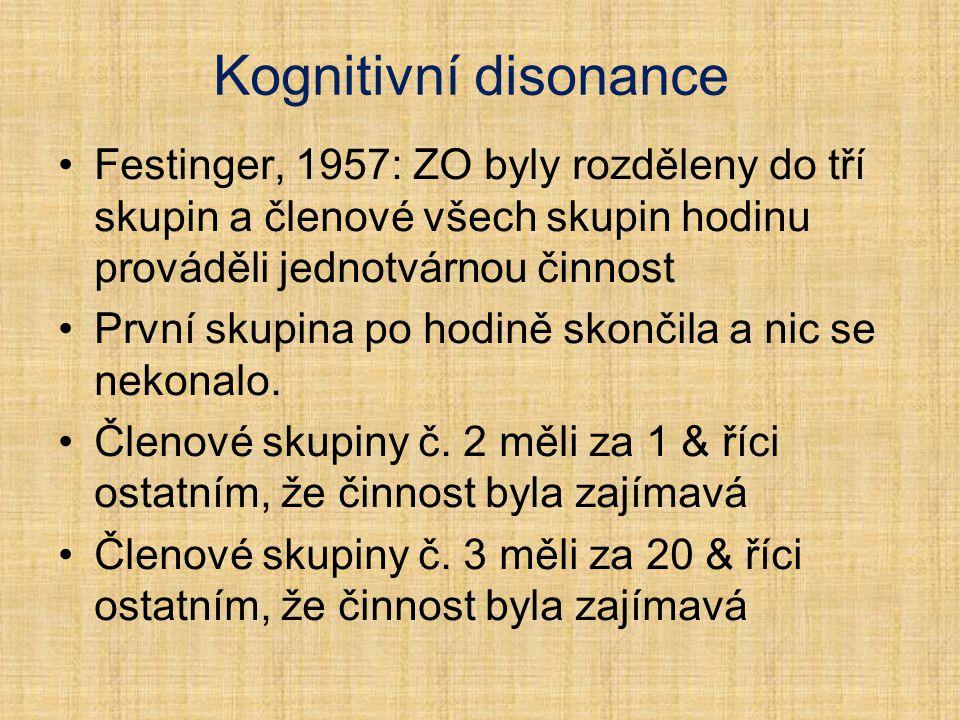 Kognitivní disonance Festinger, 1957: ZO byly rozděleny do tří skupin a členové všech skupin hodinu prováděli jednotvárnou činnost První skupina po ho