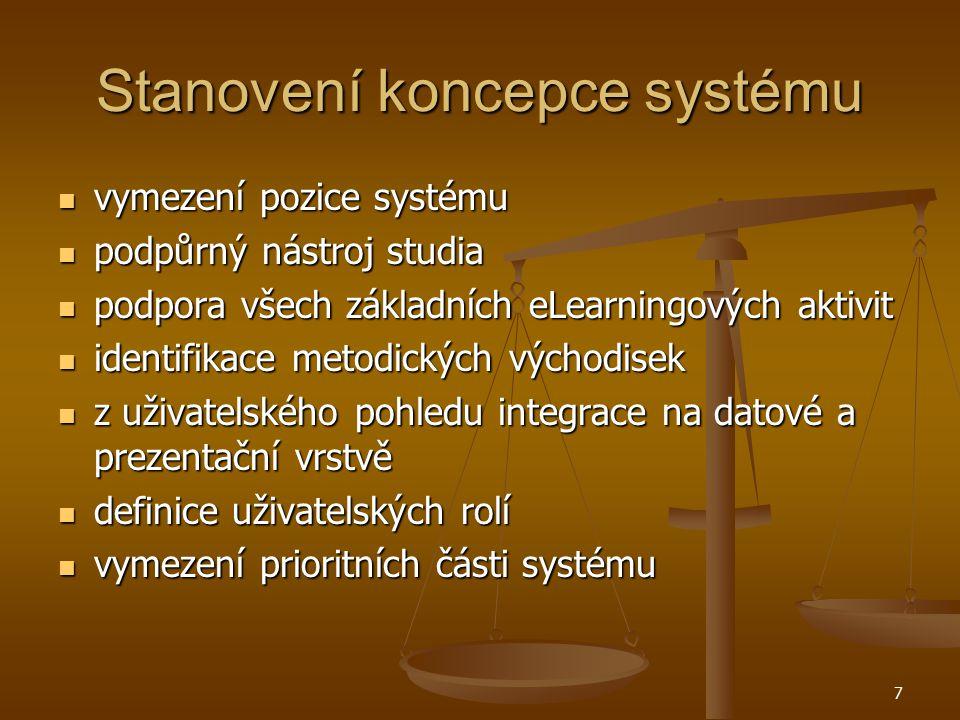 7 Stanovení koncepce systému vymezení pozice systému vymezení pozice systému podpůrný nástroj studia podpůrný nástroj studia podpora všech základních