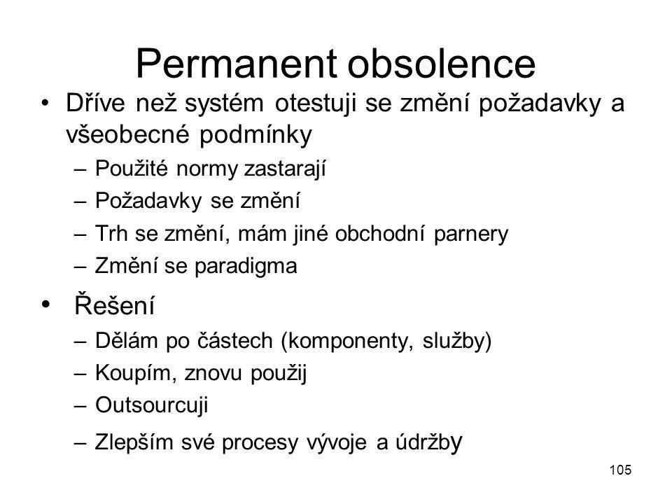 Permanent obsolence Dříve než systém otestuji se změní požadavky a všeobecné podmínky –Použité normy zastarají –Požadavky se změní –Trh se změní, mám