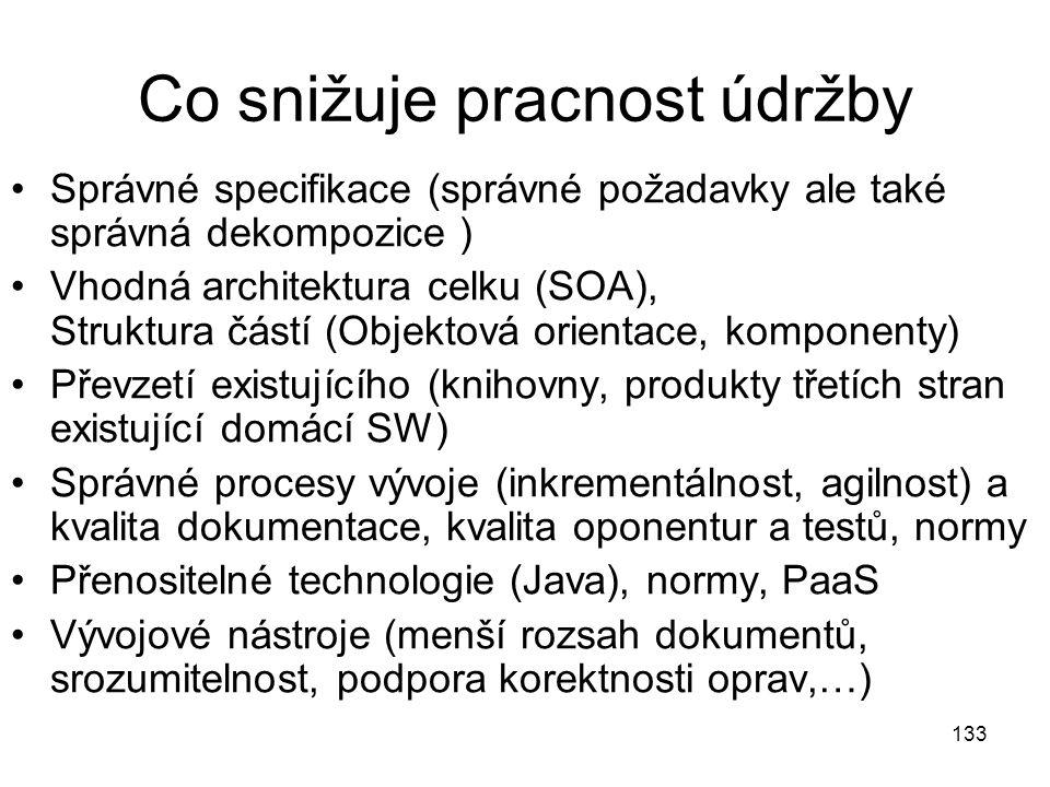 133 Co snižuje pracnost údržby Správné specifikace (správné požadavky ale také správná dekompozice ) Vhodná architektura celku (SOA), Struktura částí