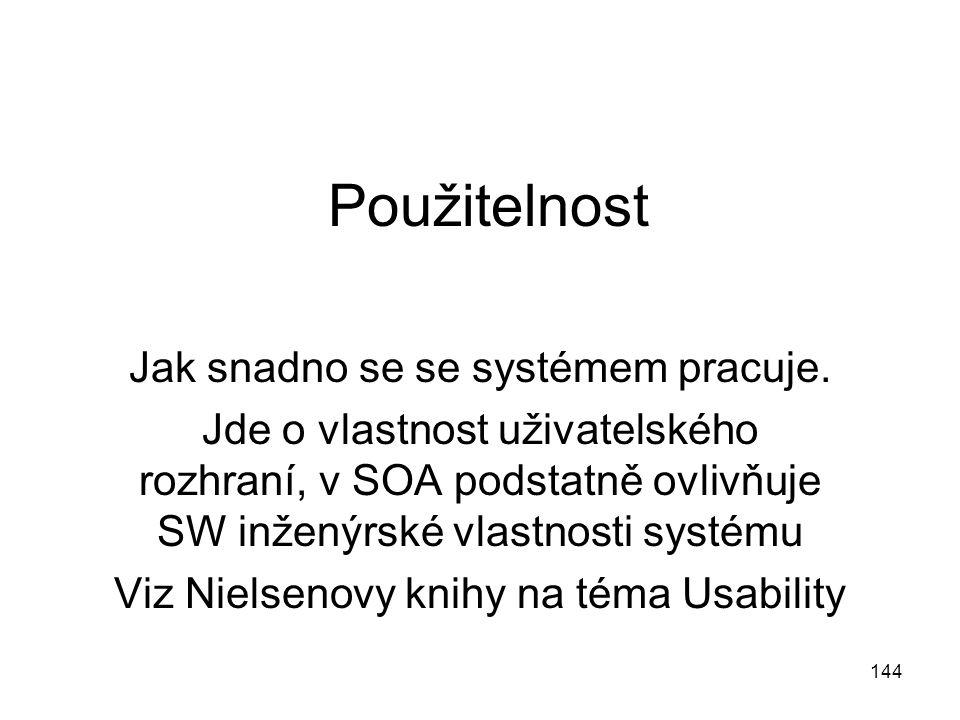 144 Použitelnost Jak snadno se se systémem pracuje. Jde o vlastnost uživatelského rozhraní, v SOA podstatně ovlivňuje SW inženýrské vlastnosti systému