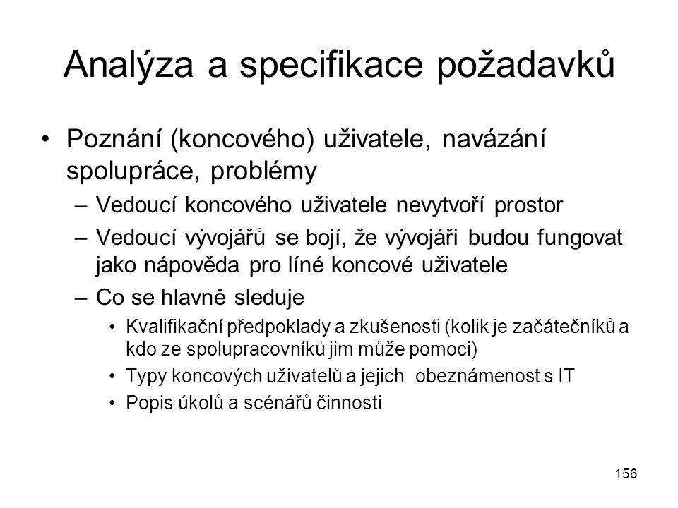 156 Analýza a specifikace požadavků Poznání (koncového) uživatele, navázání spolupráce, problémy –Vedoucí koncového uživatele nevytvoří prostor –Vedou
