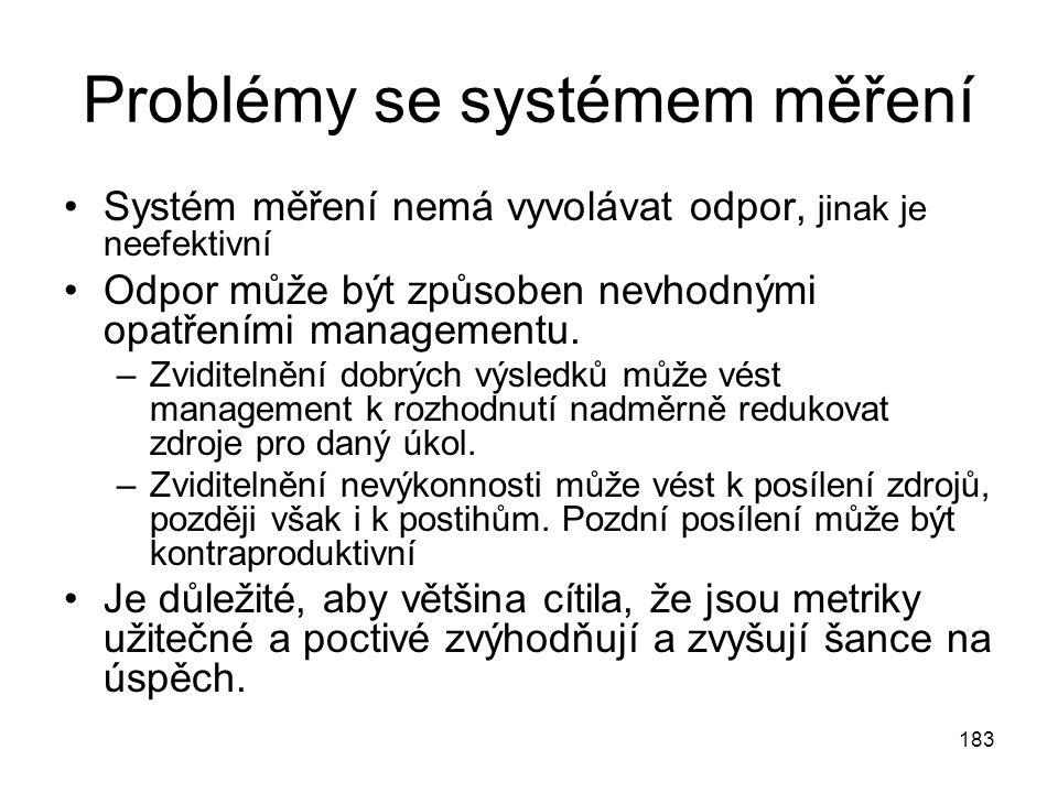 183 Problémy se systémem měření Systém měření nemá vyvolávat odpor, jinak je neefektivní Odpor může být způsoben nevhodnými opatřeními managementu. –Z