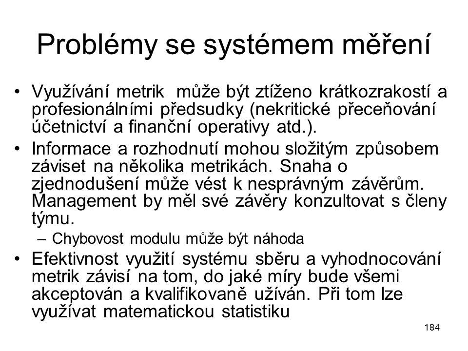 184 Problémy se systémem měření Využívání metrik může být ztíženo krátkozrakostí a profesionálními předsudky (nekritické přeceňování účetnictví a fina