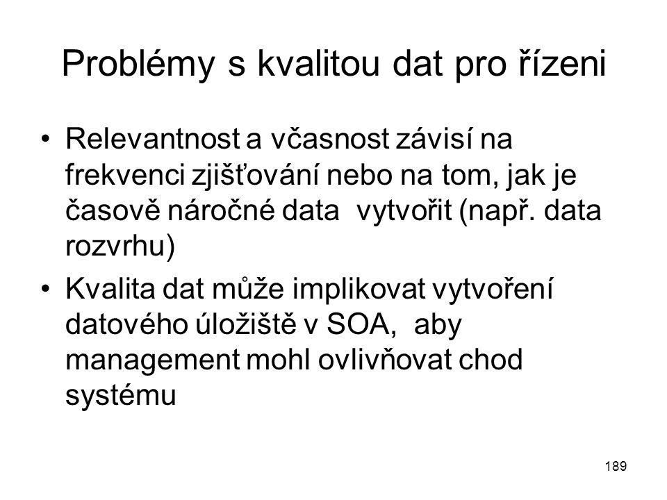 189 Problémy s kvalitou dat pro řízeni Relevantnost a včasnost závisí na frekvenci zjišťování nebo na tom, jak je časově náročné data vytvořit (např.