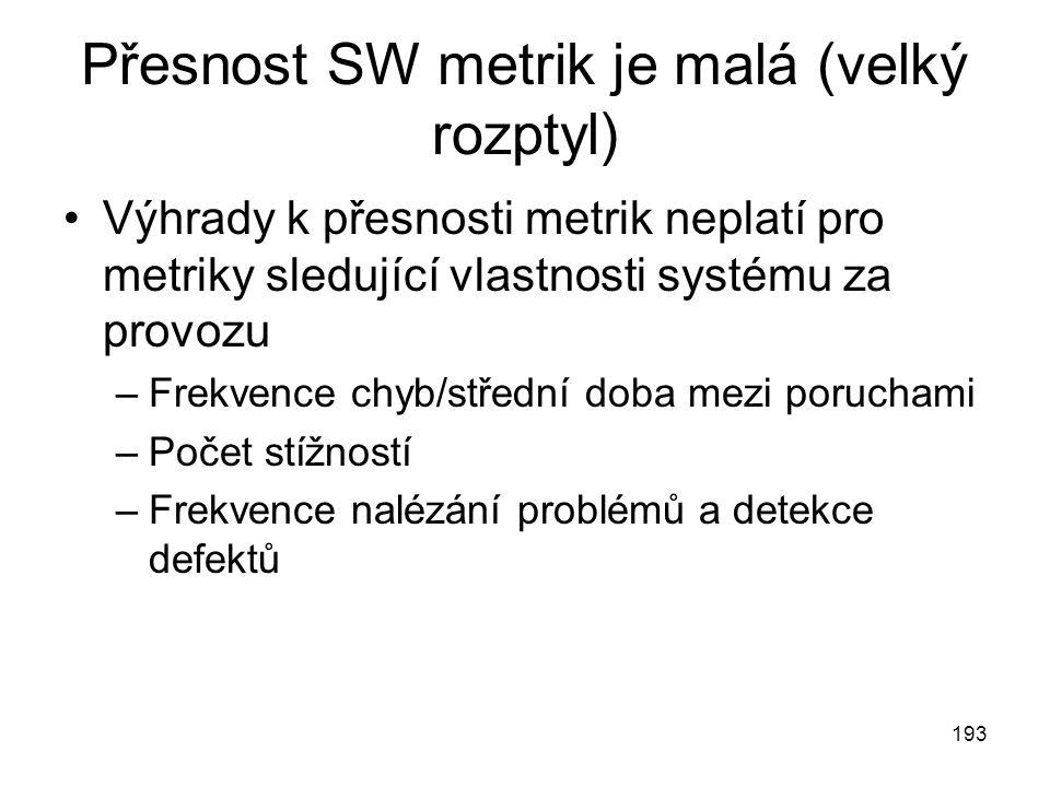 193 Přesnost SW metrik je malá (velký rozptyl) Výhrady k přesnosti metrik neplatí pro metriky sledující vlastnosti systému za provozu –Frekvence chyb/