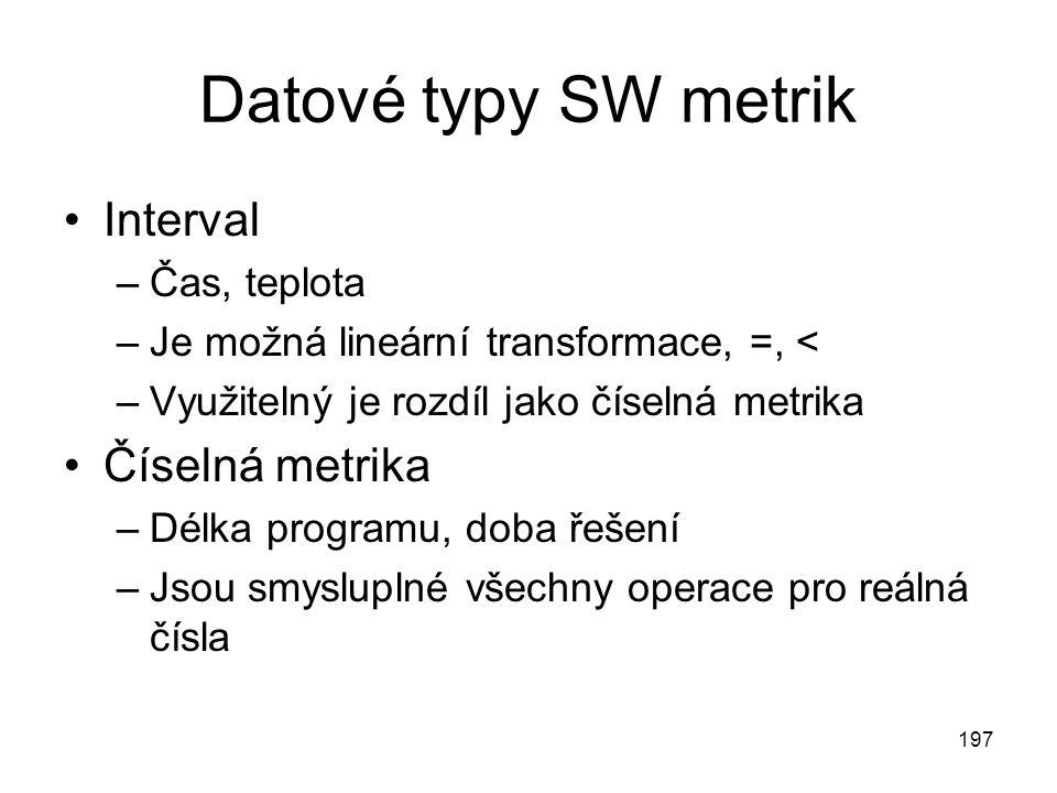 197 Datové typy SW metrik Interval –Čas, teplota –Je možná lineární transformace, =, < –Využitelný je rozdíl jako číselná metrika Číselná metrika –Dél