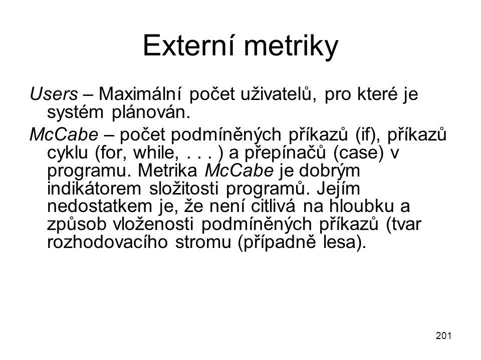 201 Externí metriky Users – Maximální počet uživatelů, pro které je systém plánován. McCabe – počet podmíněných příkazů (if), příkazů cyklu (for, whil