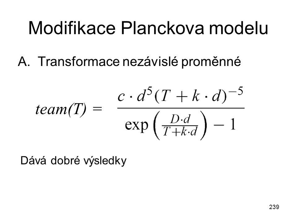 239 Modifikace Planckova modelu A.Transformace nezávislé proměnné team(T) = Dává dobré výsledky