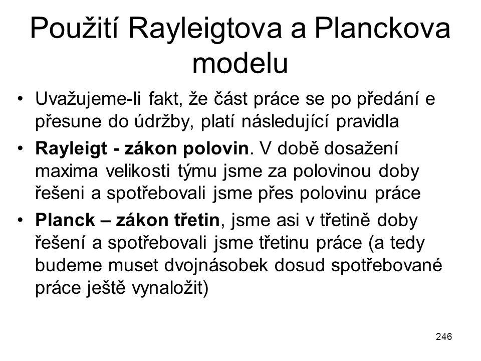 246 Použití Rayleigtova a Planckova modelu Uvažujeme-li fakt, že část práce se po předání e přesune do údržby, platí následující pravidla Rayleigt - z