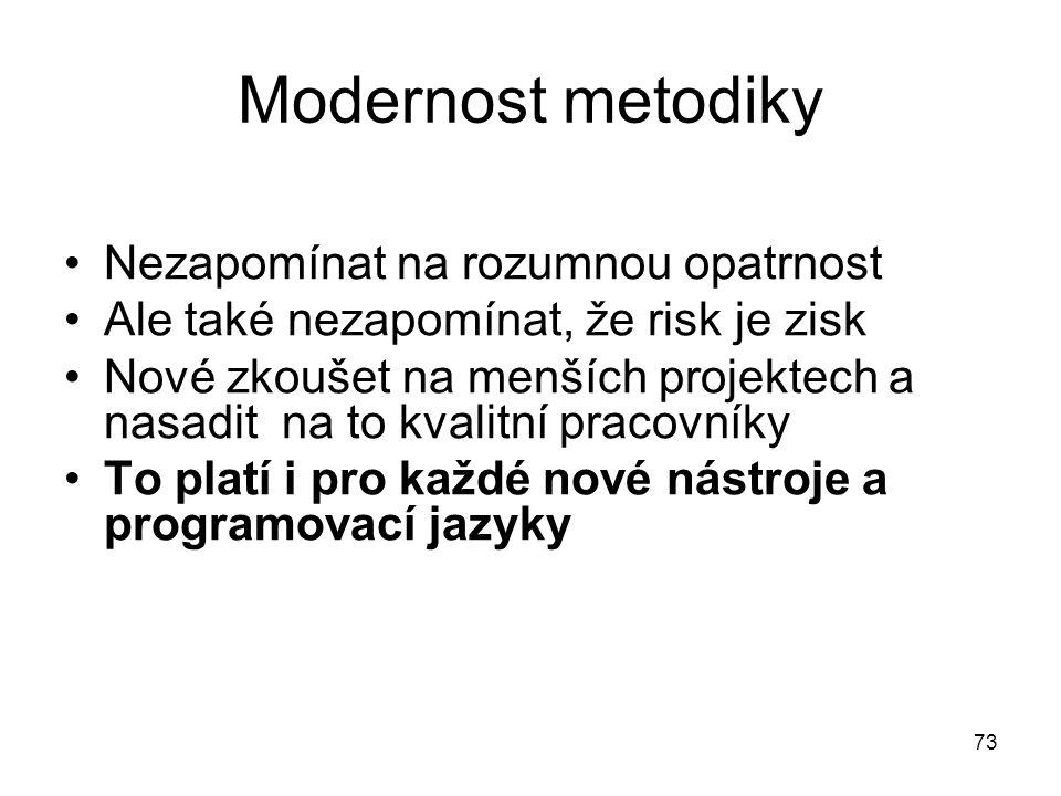 73 Modernost metodiky Nezapomínat na rozumnou opatrnost Ale také nezapomínat, že risk je zisk Nové zkoušet na menších projektech a nasadit na to kvali