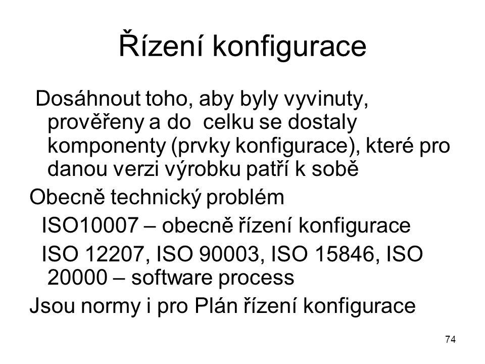 74 Řízení konfigurace Dosáhnout toho, aby byly vyvinuty, prověřeny a do celku se dostaly komponenty (prvky konfigurace), které pro danou verzi výrobku