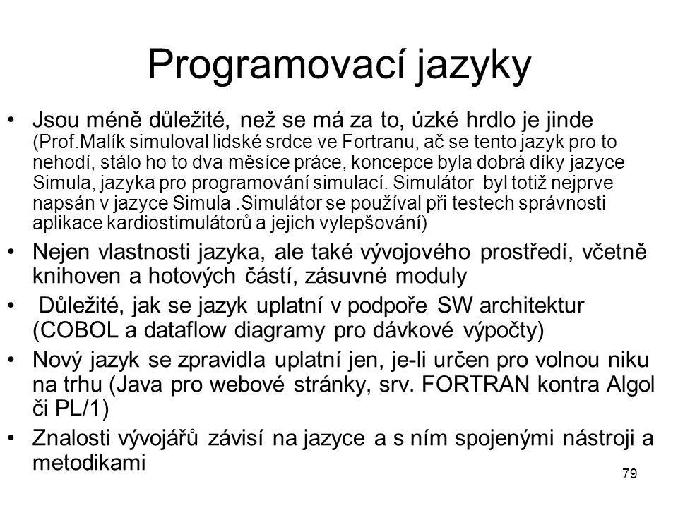 79 Programovací jazyky Jsou méně důležité, než se má za to, úzké hrdlo je jinde (Prof.Malík simuloval lidské srdce ve Fortranu, ač se tento jazyk pro