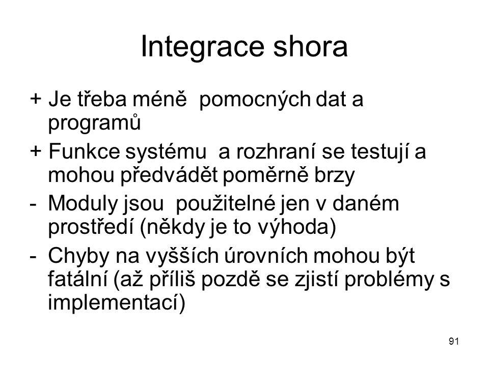 91 Integrace shora + Je třeba méně pomocných dat a programů + Funkce systému a rozhraní se testují a mohou předvádět poměrně brzy -Moduly jsou použite