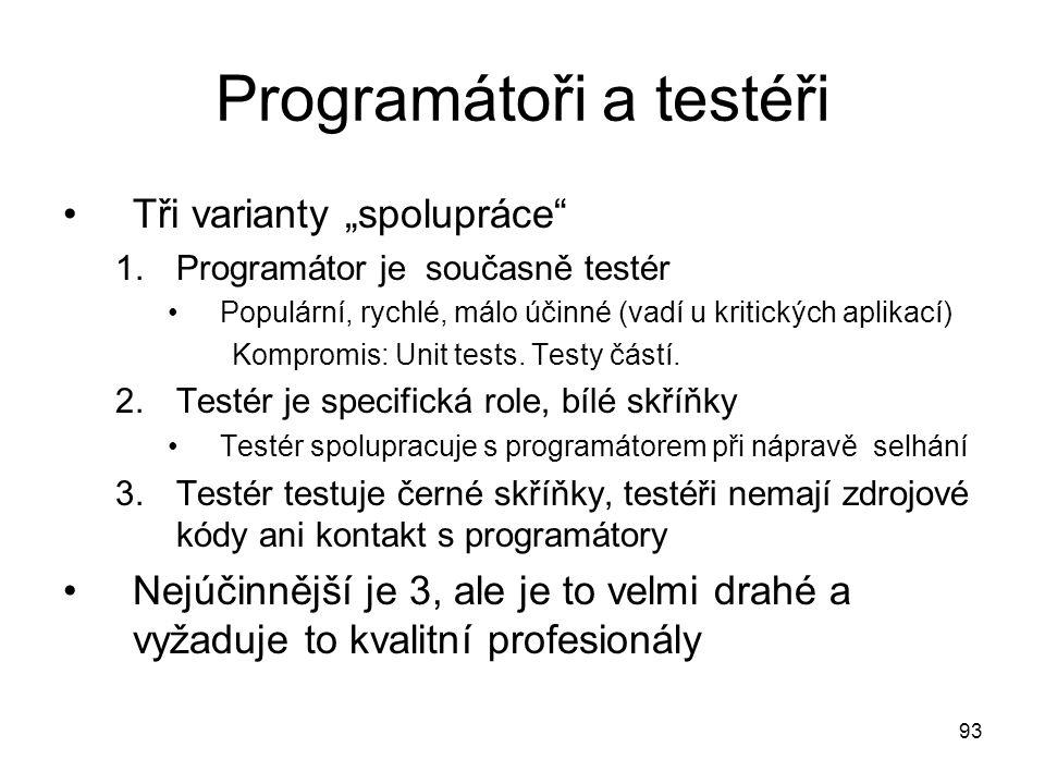 """93 Programátoři a testéři Tři varianty """"spolupráce"""" 1.Programátor je současně testér Populární, rychlé, málo účinné (vadí u kritických aplikací) Kompr"""