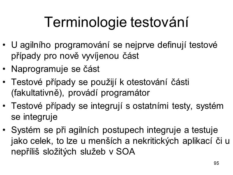 95 Terminologie testování U agilního programování se nejprve definují testové případy pro nově vyvíjenou část Naprogramuje se část Testové případy se