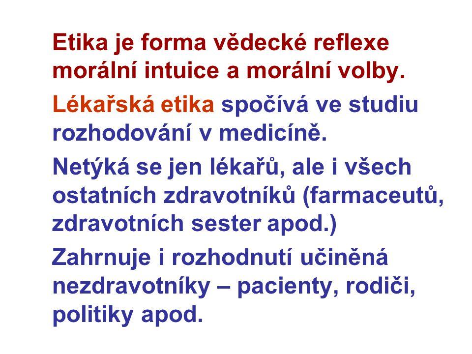Etika je forma vědecké reflexe morální intuice a morální volby. Lékařská etika spočívá ve studiu rozhodování v medicíně. Netýká se jen lékařů, ale i v