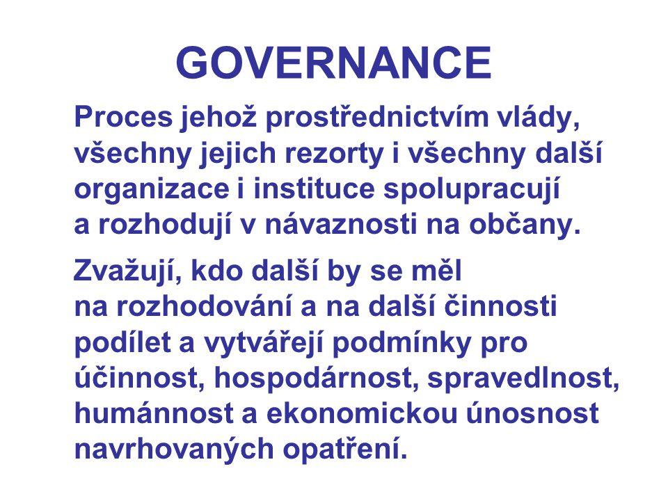 GOVERNANCE Proces jehož prostřednictvím vlády, všechny jejich rezorty i všechny další organizace i instituce spolupracují a rozhodují v návaznosti na
