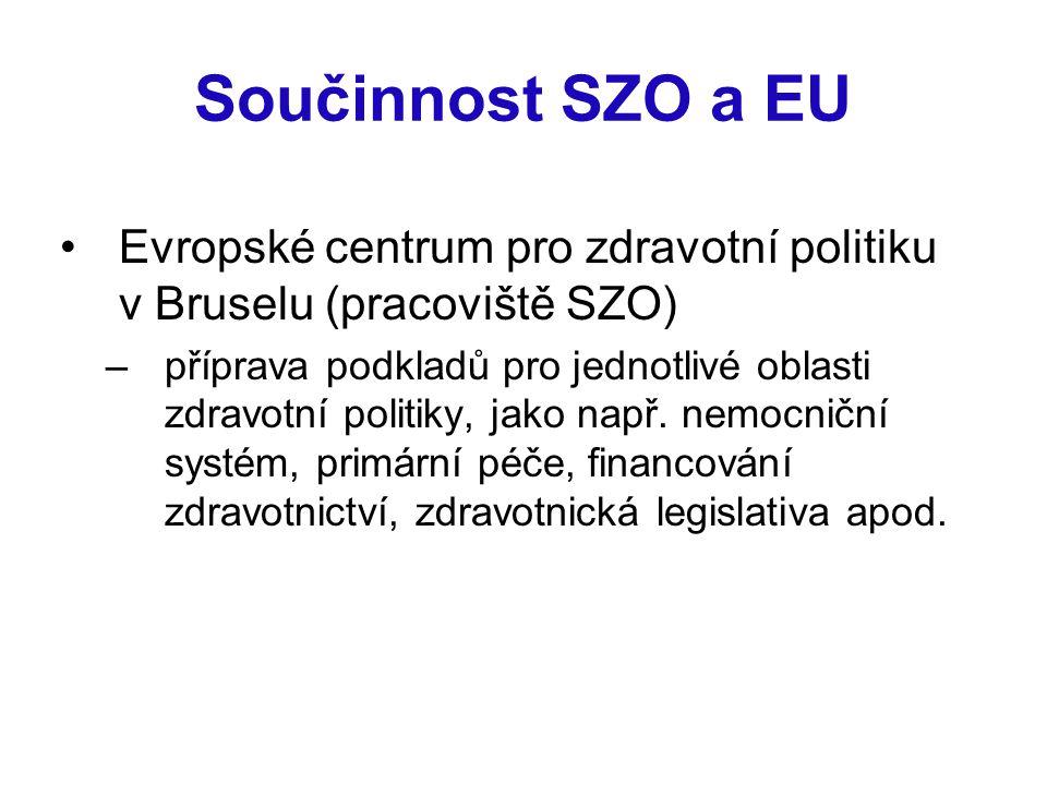 Součinnost SZO a EU Evropské centrum pro zdravotní politiku v Bruselu (pracoviště SZO) –příprava podkladů pro jednotlivé oblasti zdravotní politiky, j