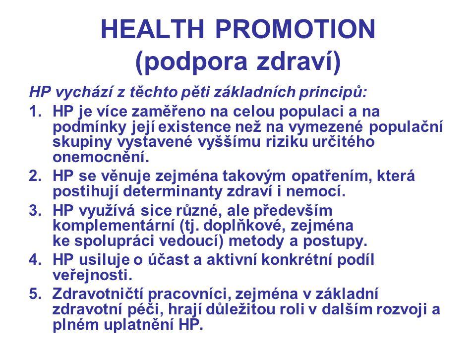 HEALTH PROMOTION (podpora zdraví) HP vychází z těchto pěti základních principů: 1.HP je více zaměřeno na celou populaci a na podmínky její existence n