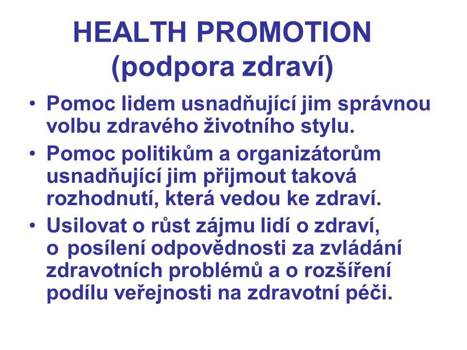 HEALTH PROMOTION (podpora zdraví) Pomoc lidem usnadňující jim správnou volbu zdravého životního stylu. Pomoc politikům a organizátorům usnadňující jim