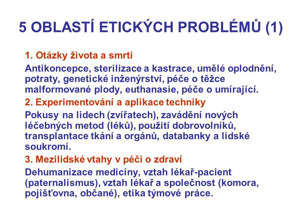 5 OBLASTÍ ETICKÝCH PROBLÉMŮ (1) 1. Otázky života a smrti Antikoncepce, sterilizace a kastrace, umělé oplodnění, potraty, genetické inženýrství, péče o