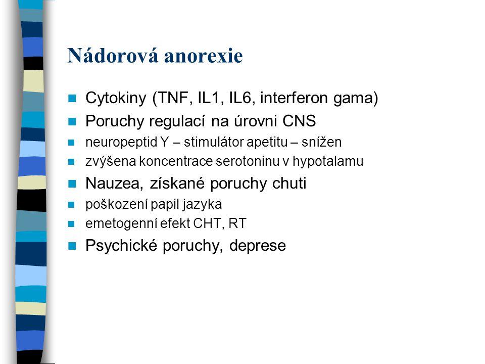 Nádorová anorexie Cytokiny (TNF, IL1, IL6, interferon gama) Poruchy regulací na úrovni CNS neuropeptid Y – stimulátor apetitu – snížen zvýšena koncentrace serotoninu v hypotalamu Nauzea, získané poruchy chuti poškození papil jazyka emetogenní efekt CHT, RT Psychické poruchy, deprese