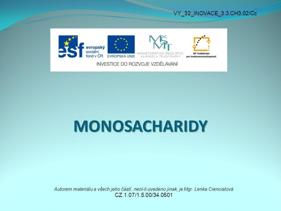 MONOSACHARIDY Autorem materiálu a všech jeho částí, není-li uvedeno jinak, je Mgr.