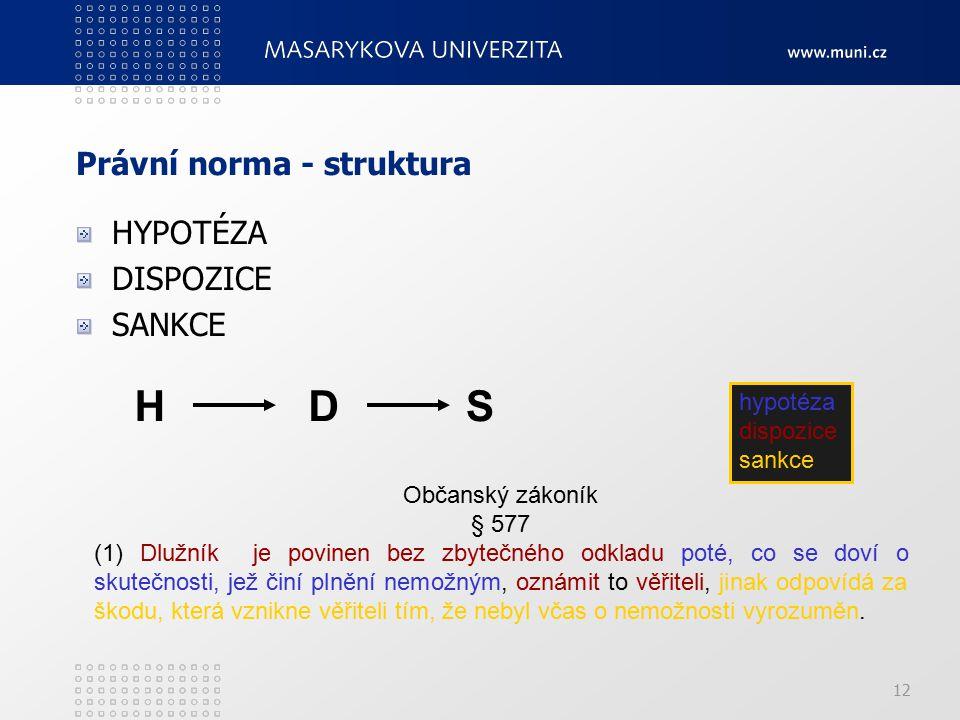 12 Právní norma - struktura HYPOTÉZA DISPOZICE SANKCE HDS Občanský zákoník § 577 (1) Dlužník je povinen bez zbytečného odkladu poté, co se doví o skut