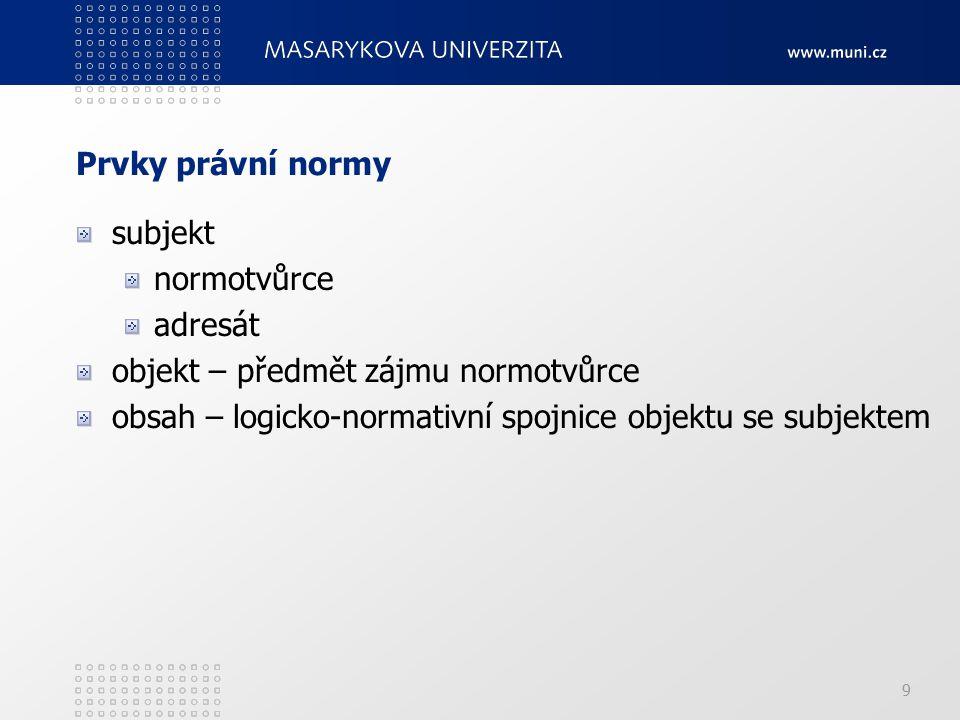 9 Prvky právní normy subjekt normotvůrce adresát objekt – předmět zájmu normotvůrce obsah – logicko-normativní spojnice objektu se subjektem