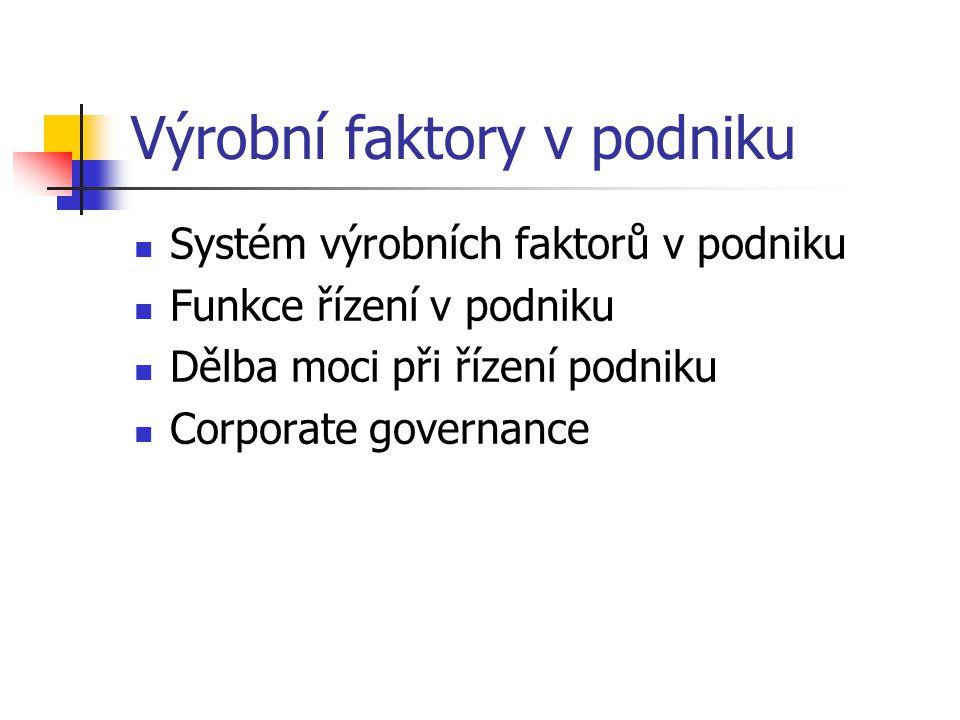 Výrobní faktory v podniku Systém výrobních faktorů v podniku Funkce řízení v podniku Dělba moci při řízení podniku Corporate governance