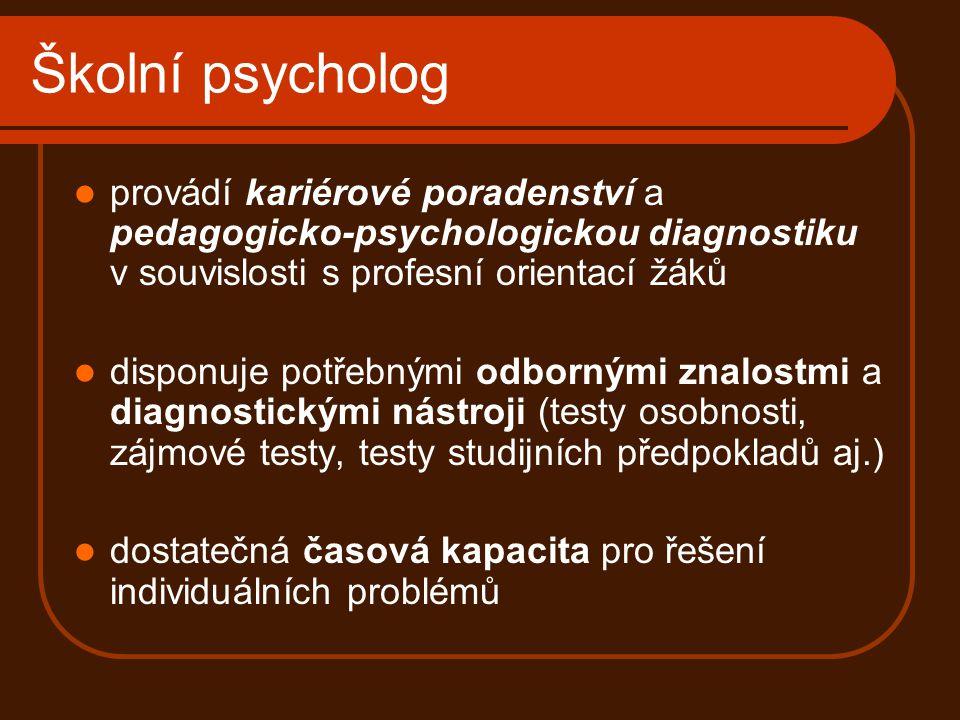 Školní psycholog provádí kariérové poradenství a pedagogicko-psychologickou diagnostiku v souvislosti s profesní orientací žáků disponuje potřebnými o