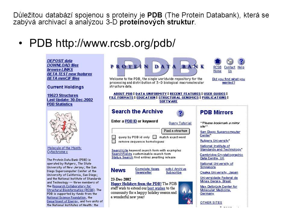 PDB http://www.rcsb.org/pdb/ Důležitou databází spojenou s proteiny je PDB (The Protein Databank), která se zabývá archivací a analýzou 3-D proteinový