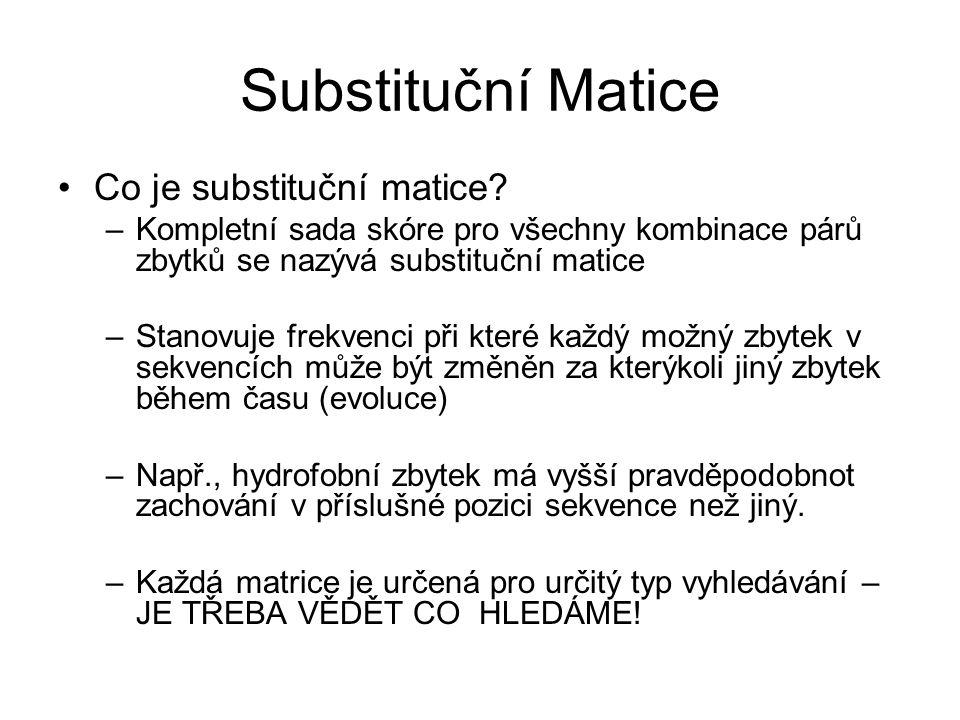 Substituční Matice Co je substituční matice? –Kompletní sada skóre pro všechny kombinace párů zbytků se nazývá substituční matice –Stanovuje frekvenci