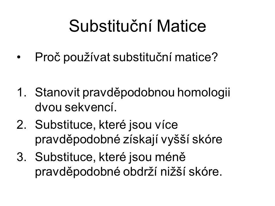 Substituční Matice Proč používat substituční matice? 1.Stanovit pravděpodobnou homologii dvou sekvencí. 2.Substituce, které jsou více pravděpodobné zí