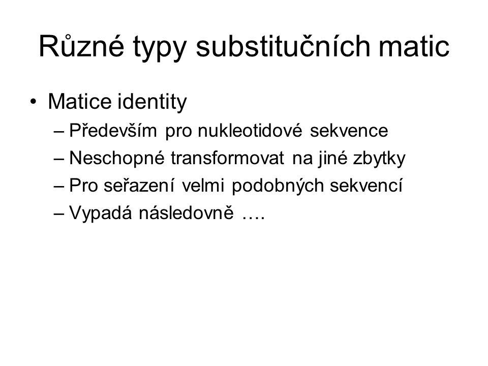 Různé typy substitučních matic Matice identity –Především pro nukleotidové sekvence –Neschopné transformovat na jiné zbytky –Pro seřazení velmi podobn