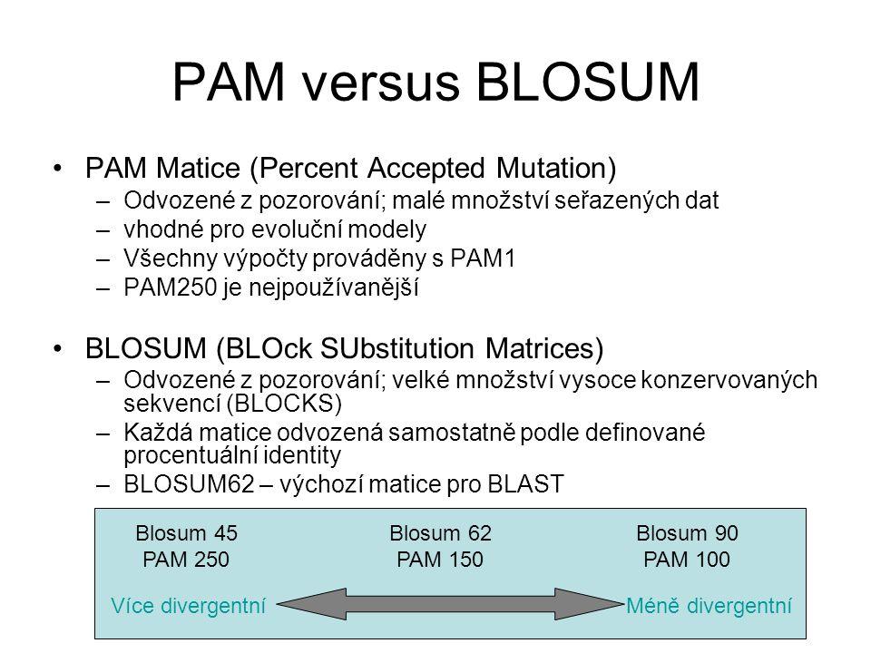 PAM versus BLOSUM PAM Matice (Percent Accepted Mutation) –Odvozené z pozorování; malé množství seřazených dat –vhodné pro evoluční modely –Všechny výp