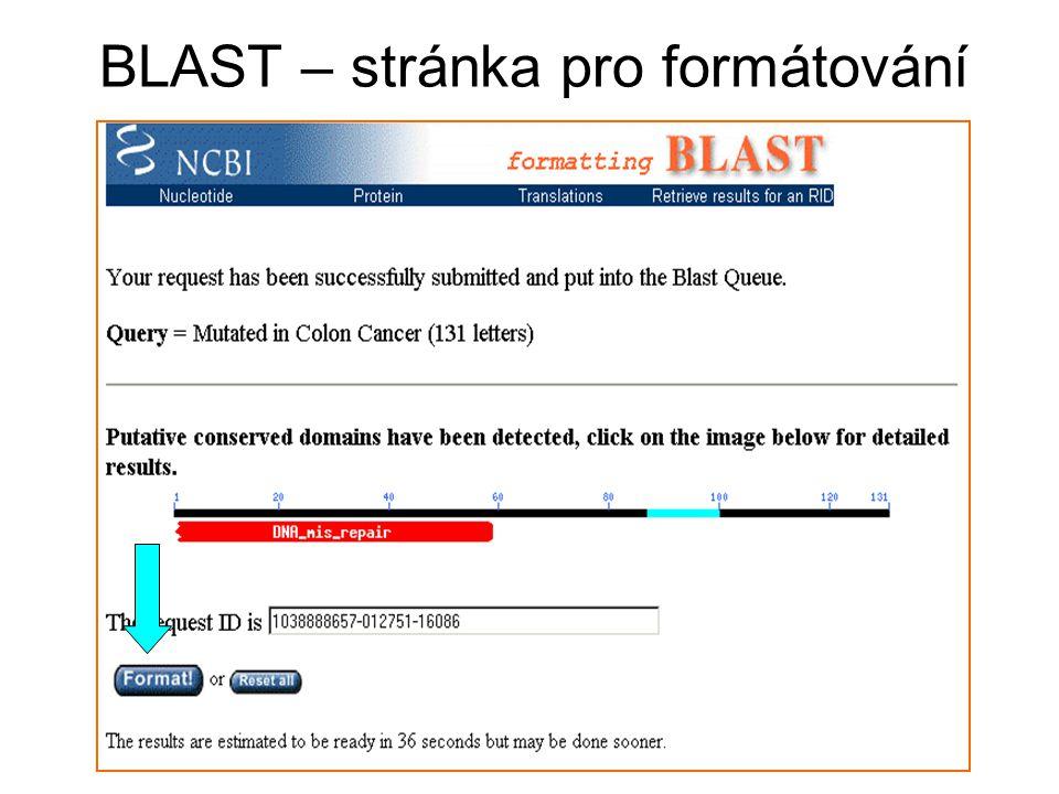 BLAST – stránka pro formátování