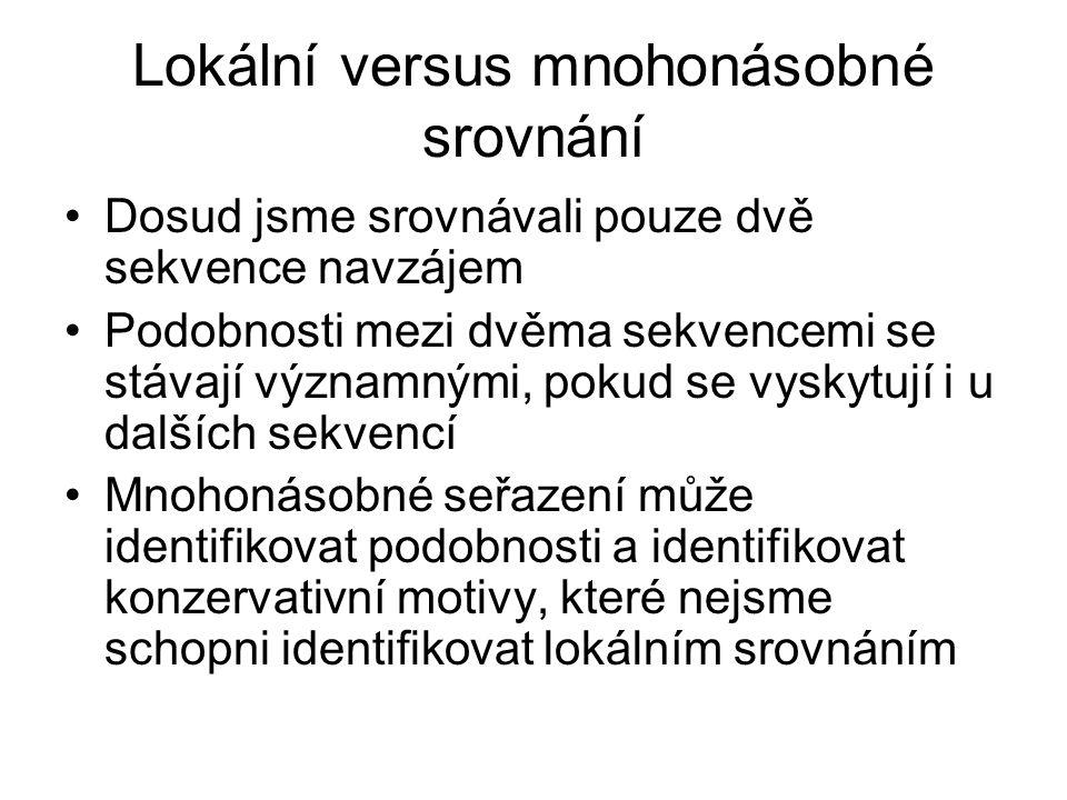 Lokální versus mnohonásobné srovnání Dosud jsme srovnávali pouze dvě sekvence navzájem Podobnosti mezi dvěma sekvencemi se stávají významnými, pokud s