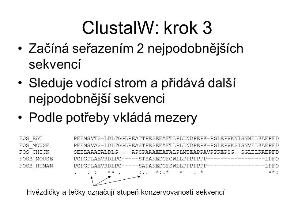 ClustalW: krok 3 Začíná seřazením 2 nejpodobnějších sekvencí Sleduje vodící strom a přidává další nejpodobnější sekvenci Podle potřeby vkládá mezery F