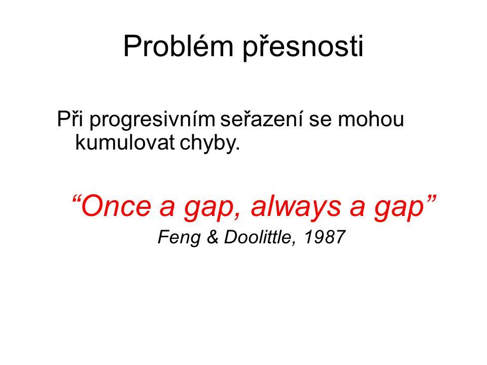 """Problém přesnosti Při progresivním seřazení se mohou kumulovat chyby. """"Once a gap, always a gap"""" Feng & Doolittle, 1987"""