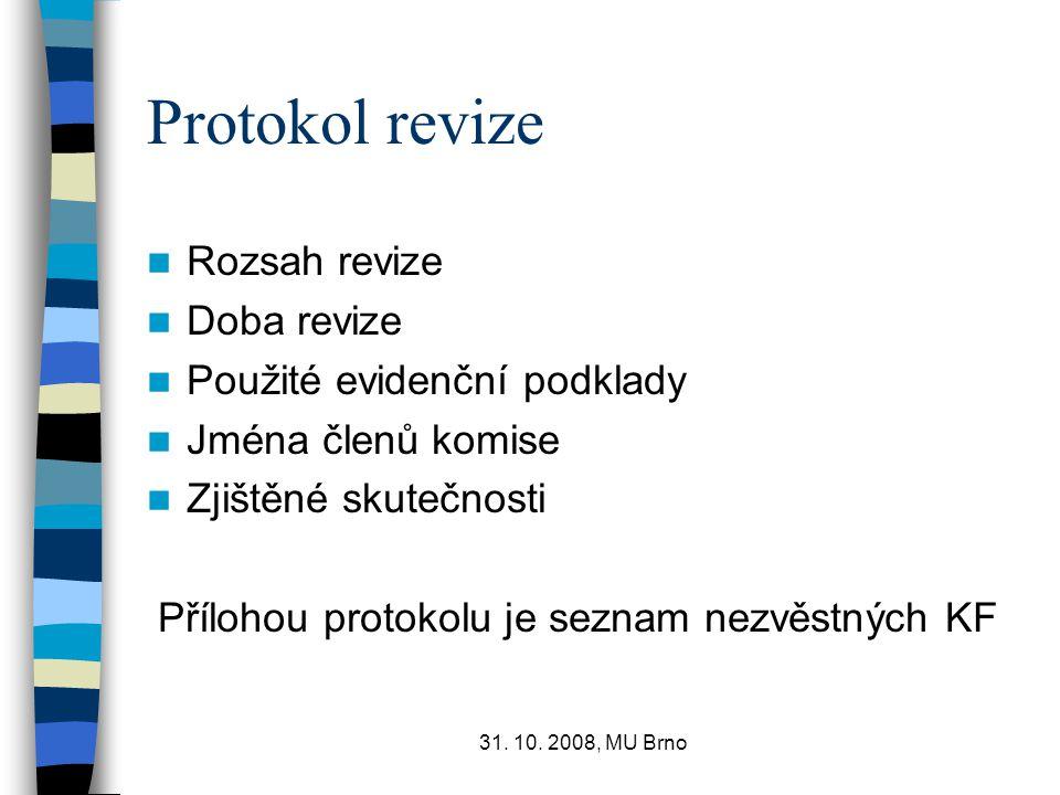 31. 10. 2008, MU Brno Protokol revize Rozsah revize Doba revize Použité evidenční podklady Jména členů komise Zjištěné skutečnosti Přílohou protokolu