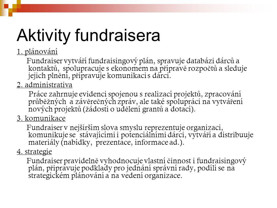 Aktivity fundraisera 1. plánování Fundraiser vytvá ř í fundraisingový plán, spravuje databázi dárc ů a kontakt ů, spolupracuje s ekonomem na p ř íprav