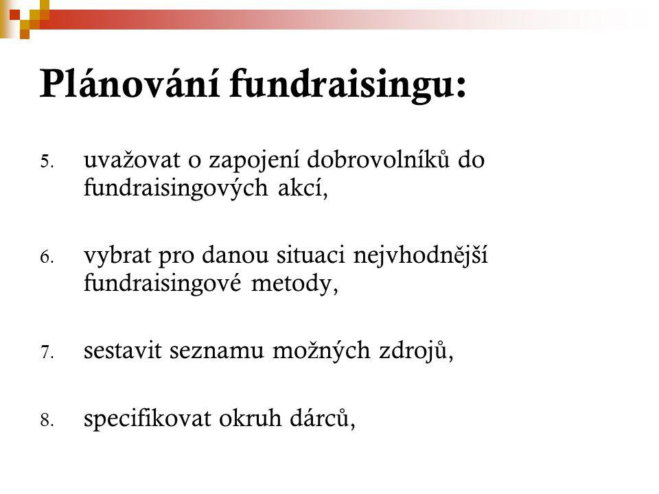 Plánování fundraisingu: 5. uva ž ovat o zapojení dobrovolník ů do fundraisingových akcí, 6. vybrat pro danou situaci nejvhodn ě jší fundraisingové met