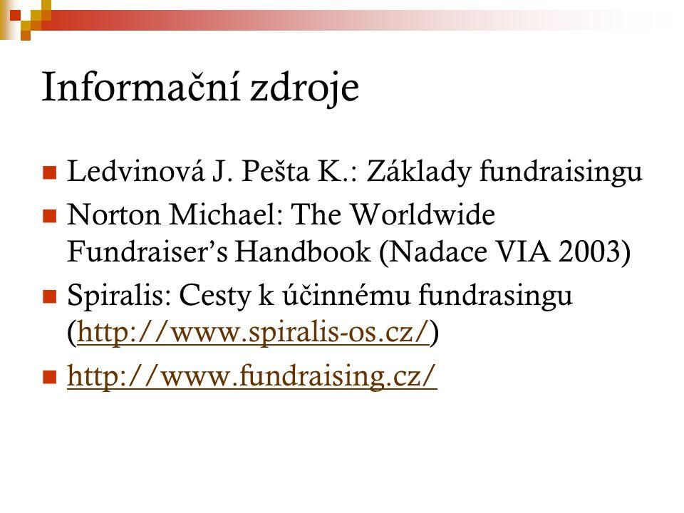 Informa č ní zdroje Ledvinová J. Pešta K.: Základy fundraisingu Norton Michael: The Worldwide Fundraiser's Handbook (Nadace VIA 2003) Spiralis: Cesty